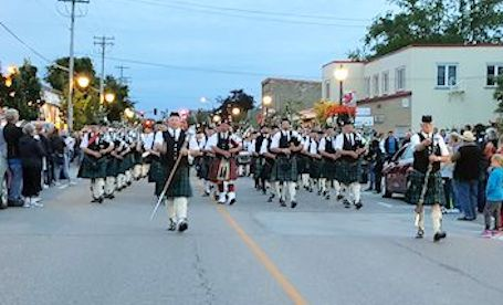 Kincardine Scottish Pipe Band is aglow for final Saturday Night Parade of summer