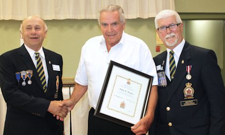 Andy Burgess receives Life Membership at Kincardine Legion Honours and Awards Banquet
